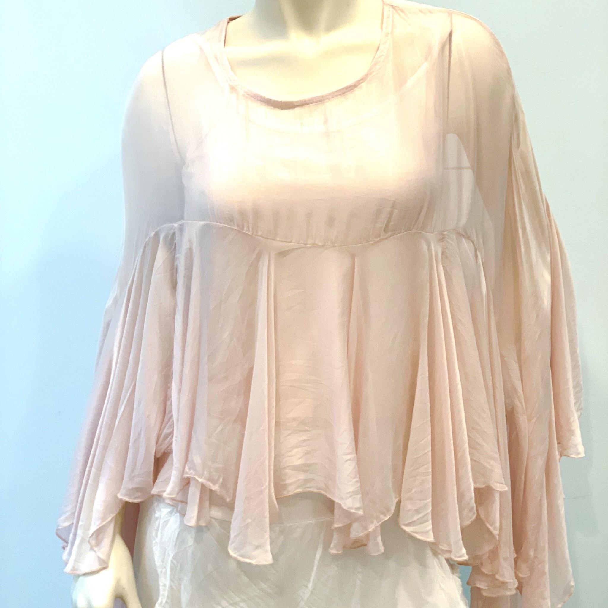 Ballet Pink Boho Silk Top