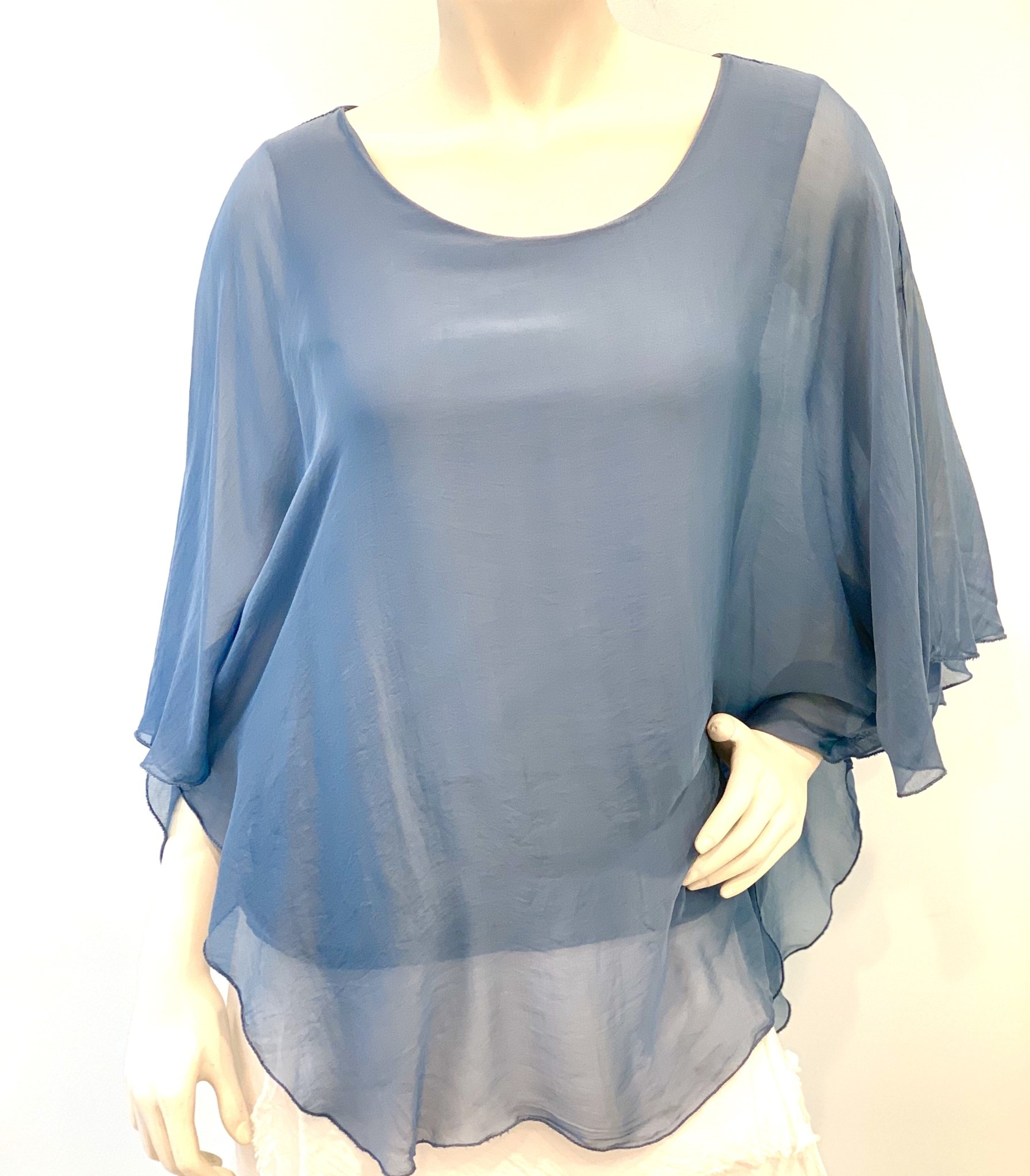 Steel Blue Silk Angel Top