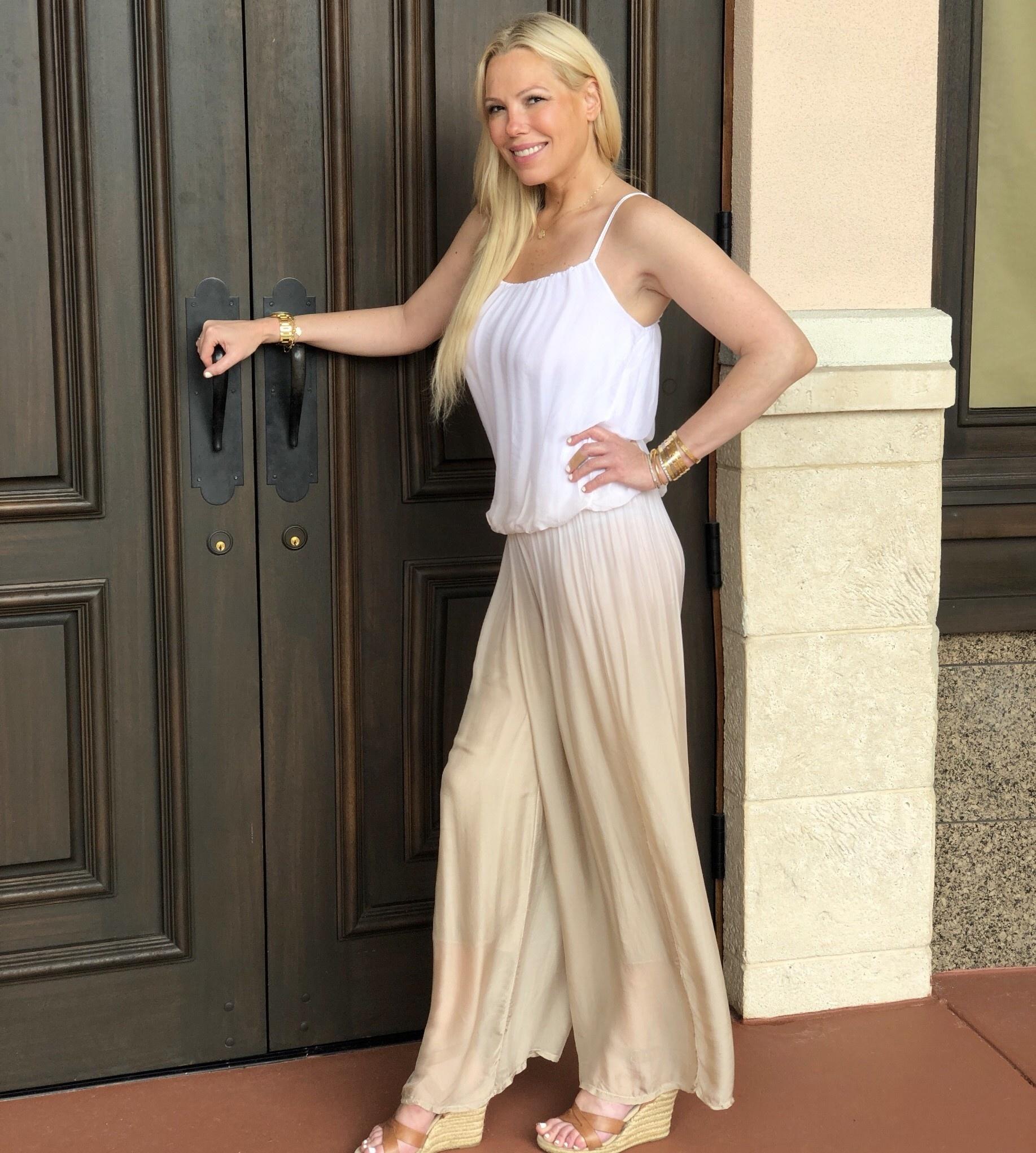 White/Khaki Ombre Silk Jumpsuit