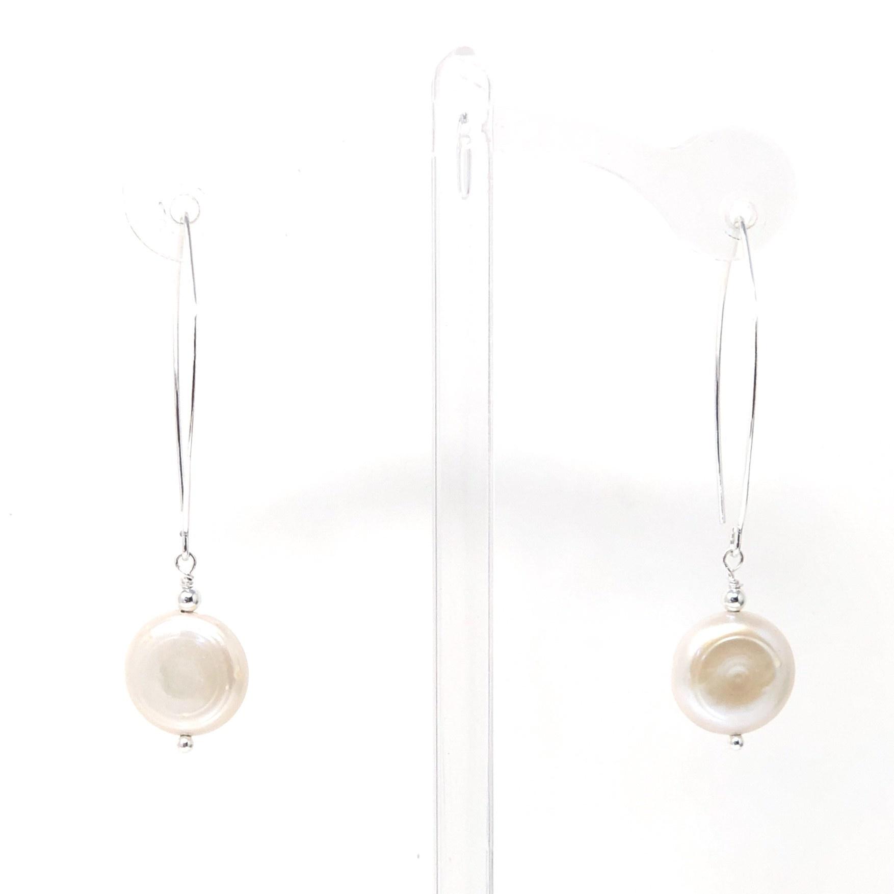 Coin Pearl Large Hook Earrings