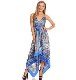 Blue Sunburst Floral Scarf Dress