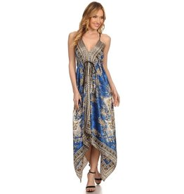 Blue Versace Hankerchief Dress