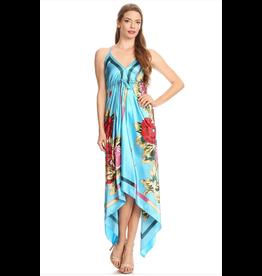 Aqua Floral Hankerchief Dress