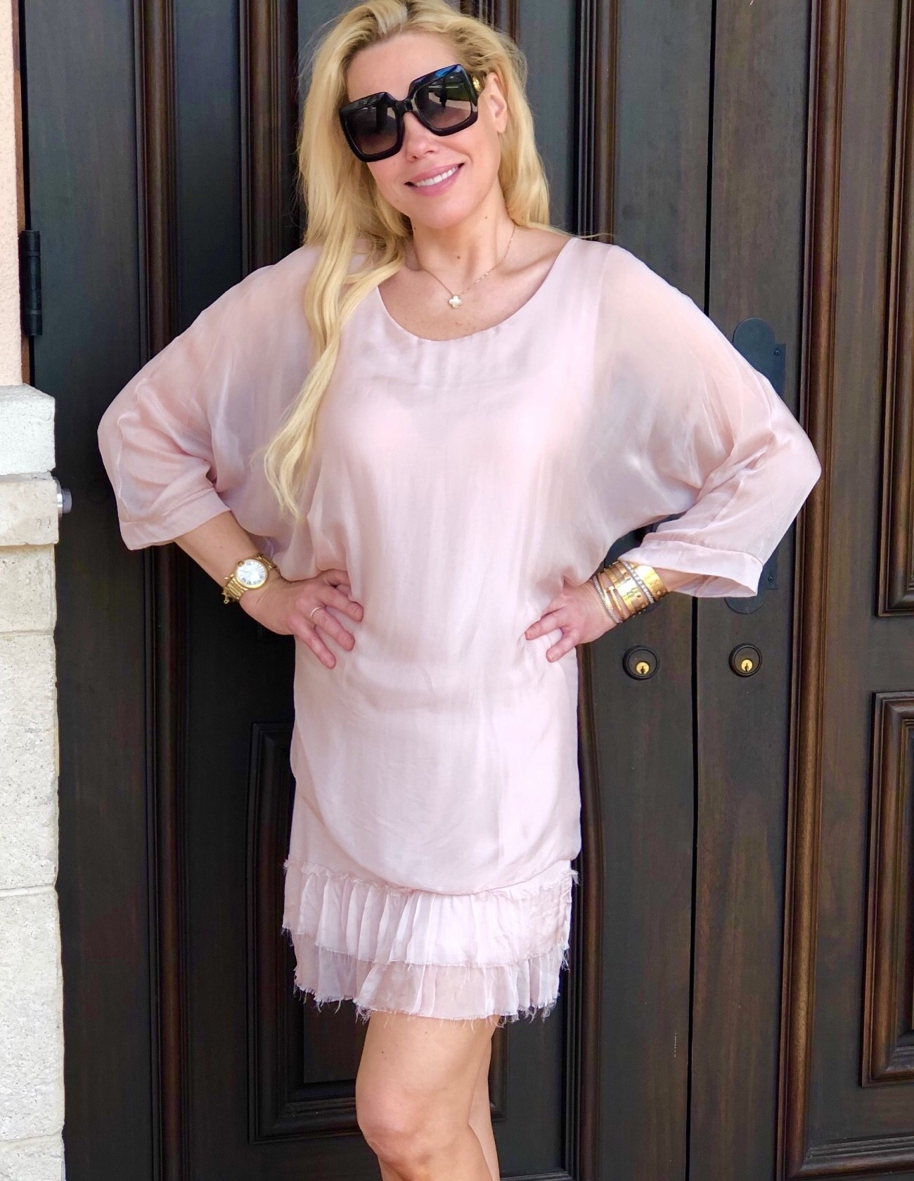 Dusty Rose Ruffle Goddess Dress