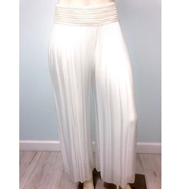 Pura Seta Elastic White Silk Lined Pants