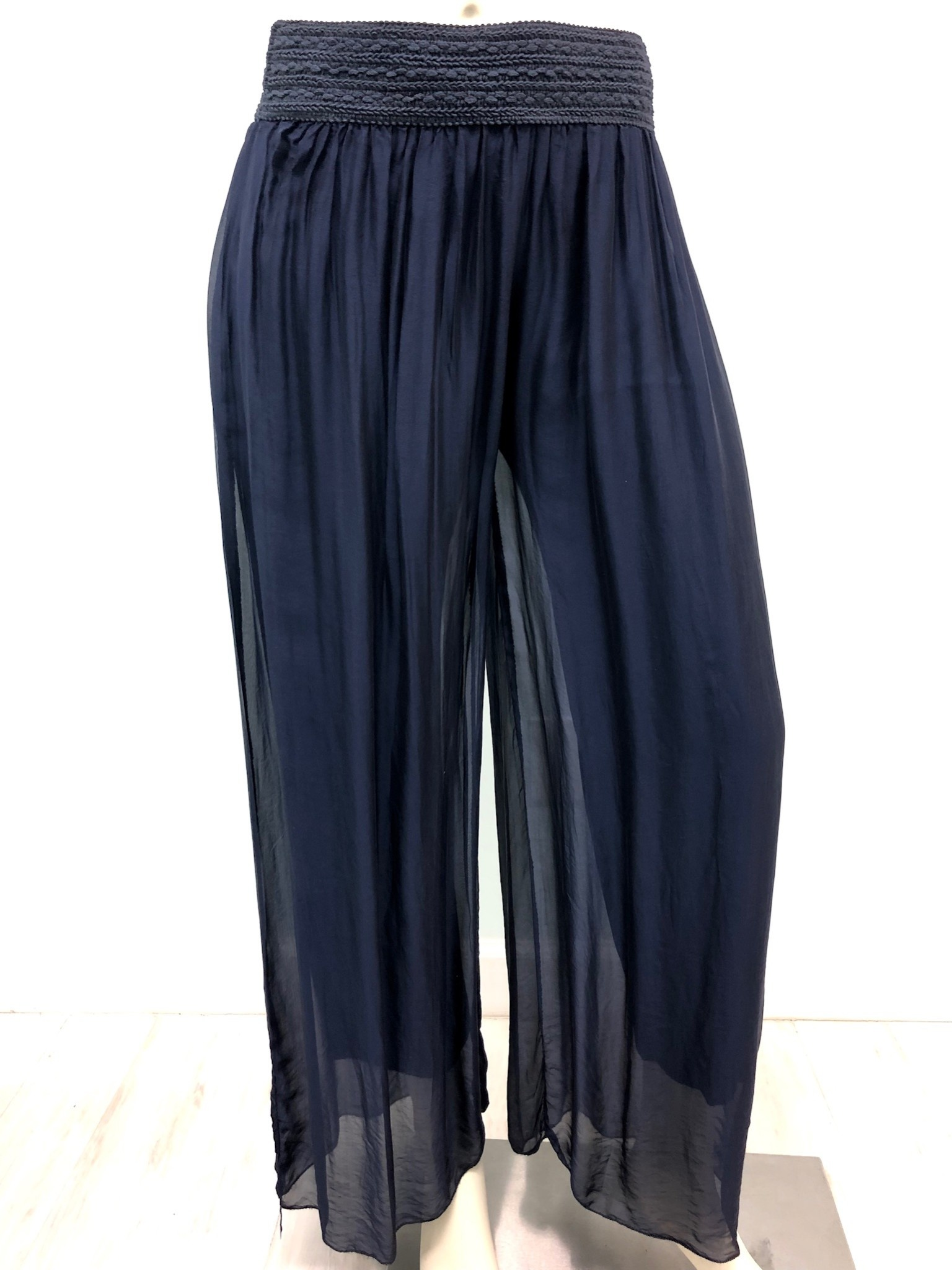 Pura Seta Elastic Navy Silk Lined Pants