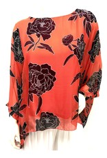 Coral Carnation Silk Top