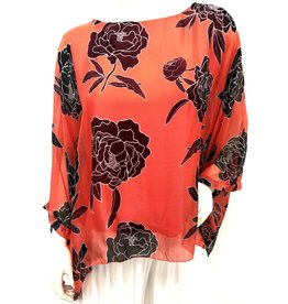 Coral Carnation Silk Top