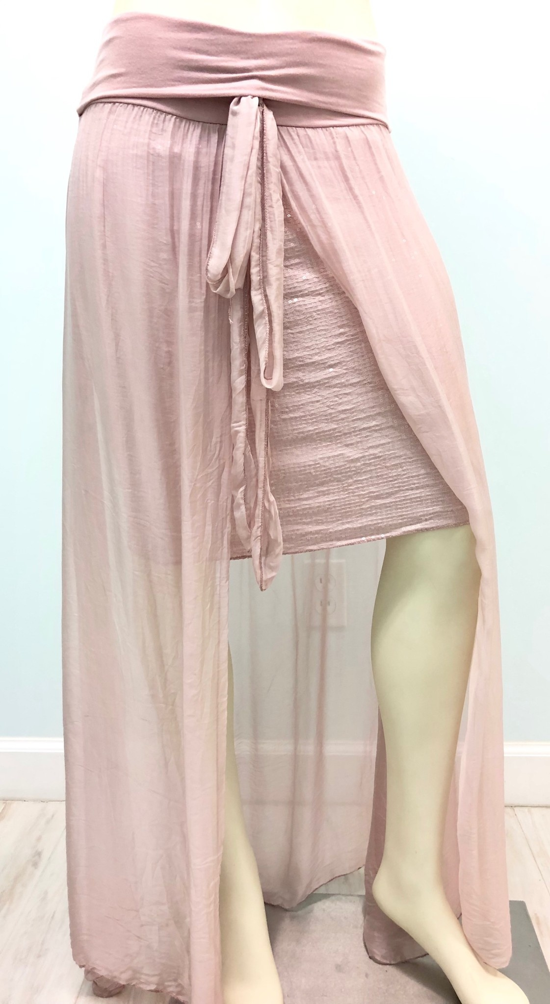 Dusty Rose Sequin Silk Skirt