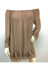 Taupe Ruffle Dress