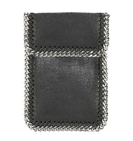 Blk Fold Over Chain Phone Pouch