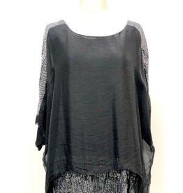Black Silk Sequin Sleeve/Layer Top