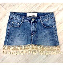 Lace & Tassel Jean Skirt