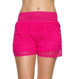 Fuchsia Lace Crochet Shorts