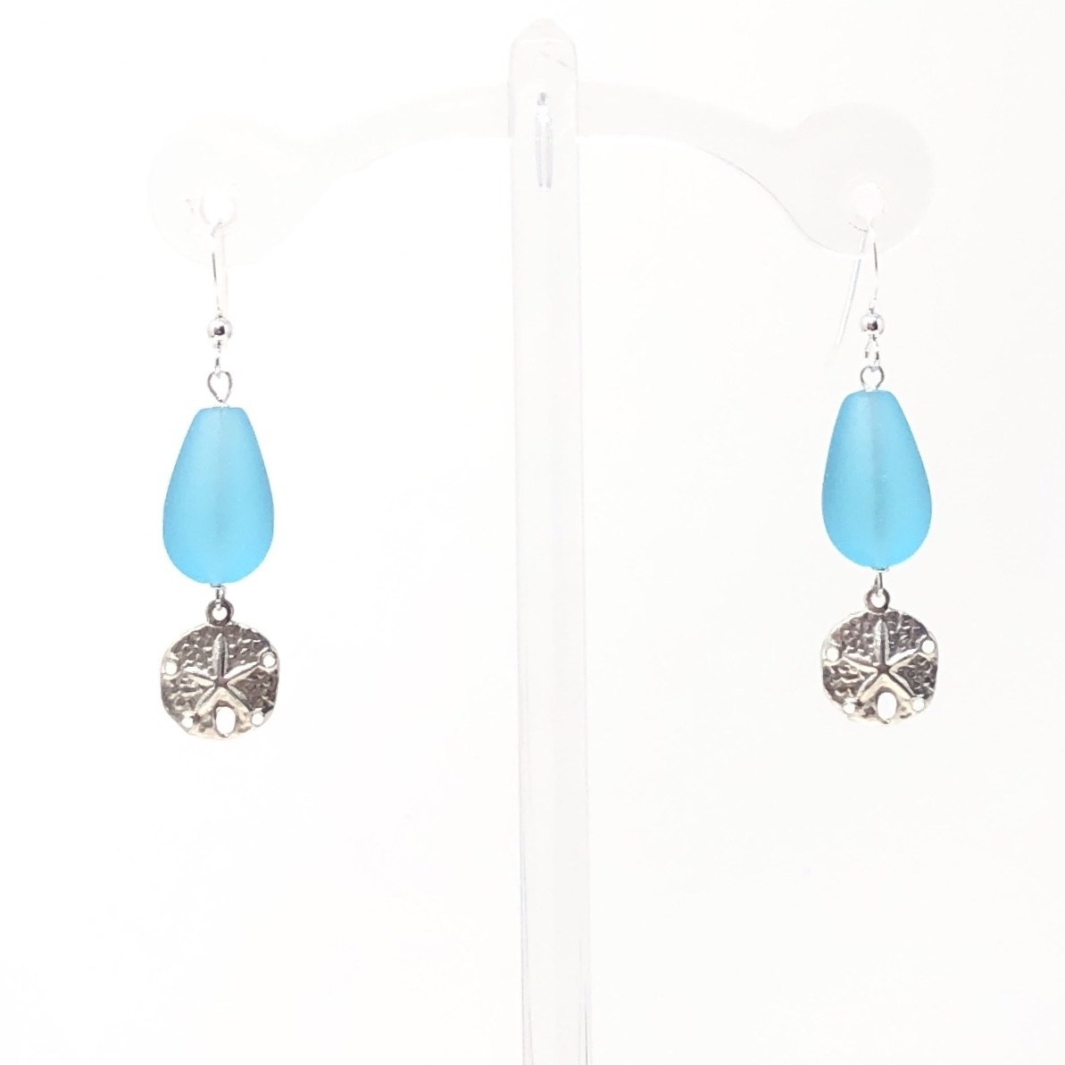 Aqua Sea Glass Sand Dollar Earrings