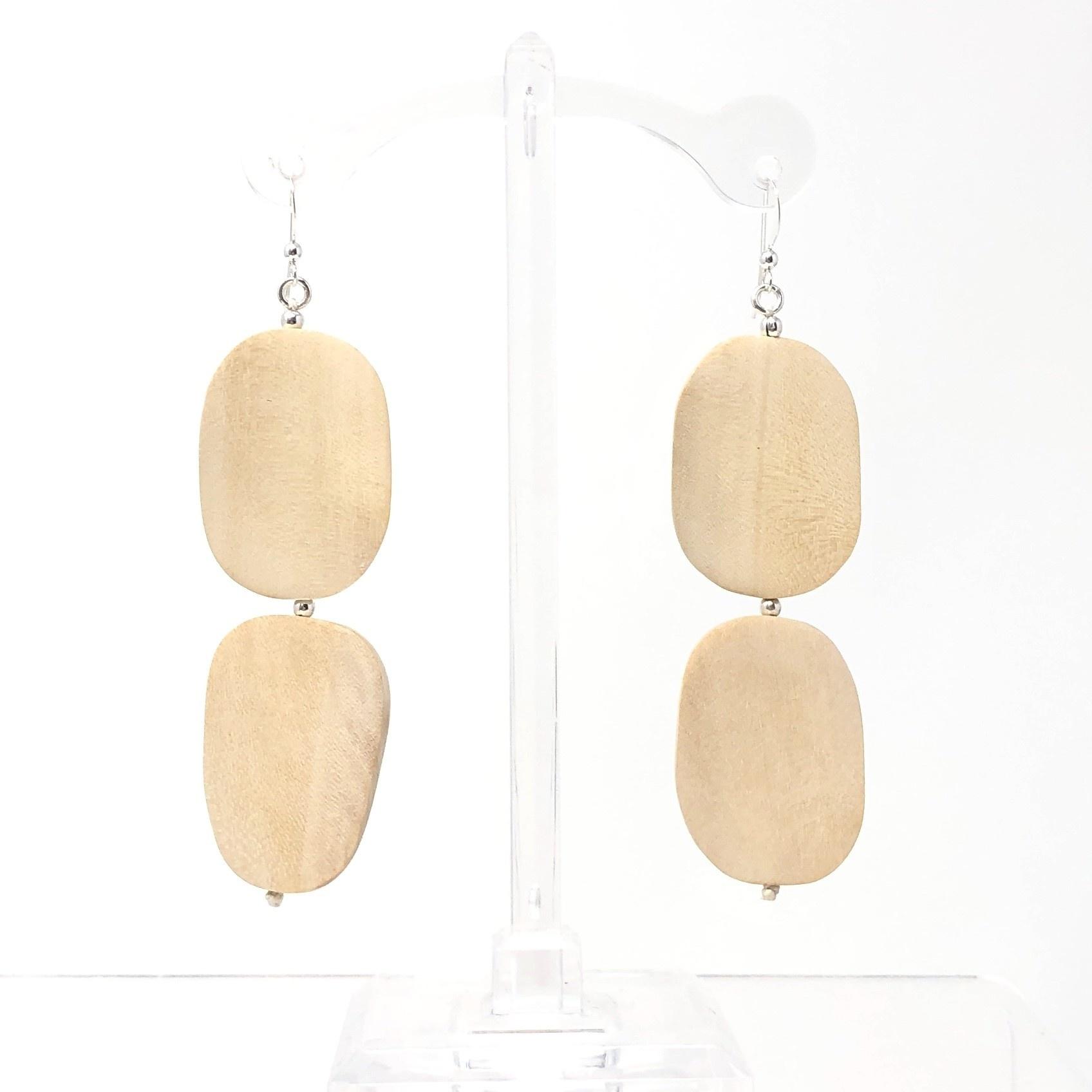 Oval Wood Earrings
