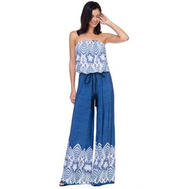 Roxi Denim Strapless Jumpsuit