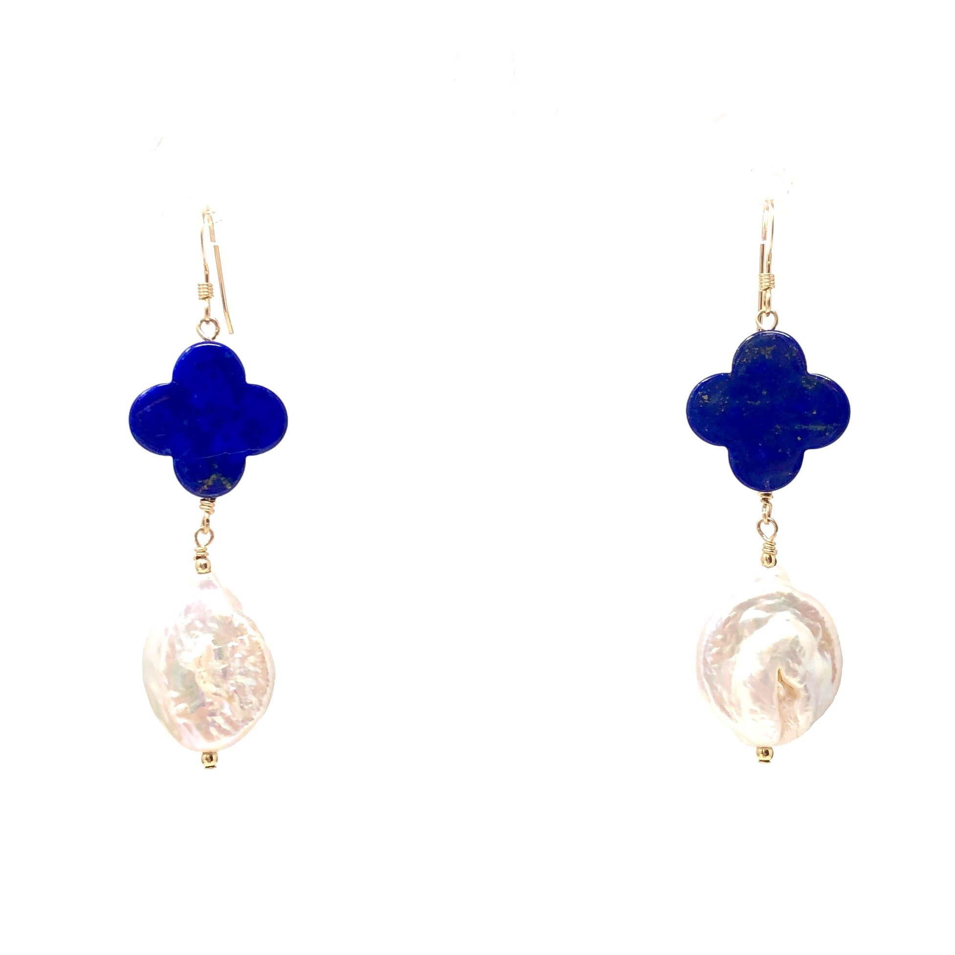 Clover Lapis & Pearl Earrings