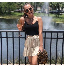 Tan Silk Ruffle Shorts