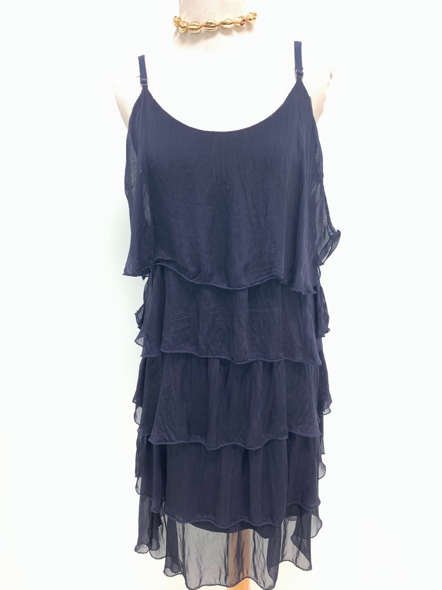 Navy Silk Layered Tank Dress