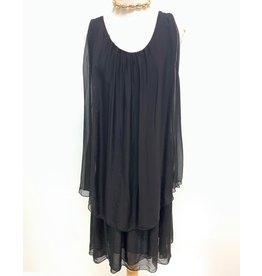Black SIlk Double Layer Dress