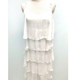White Silk Layered Tank Dress