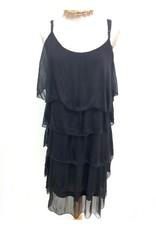 Black Silk Layered Tank Dress