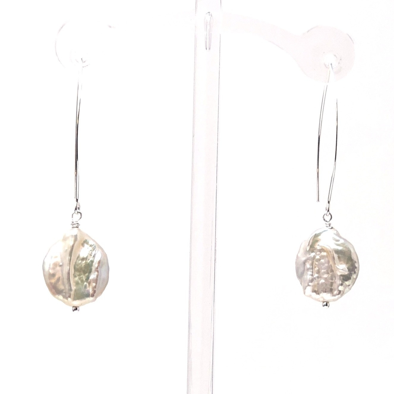 Lustre Coin Pearl Large Hook Earrings