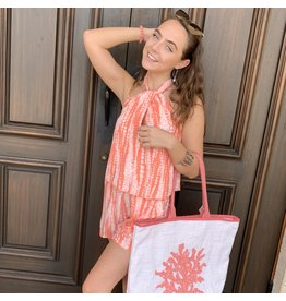 Coral Twist Neck Romper