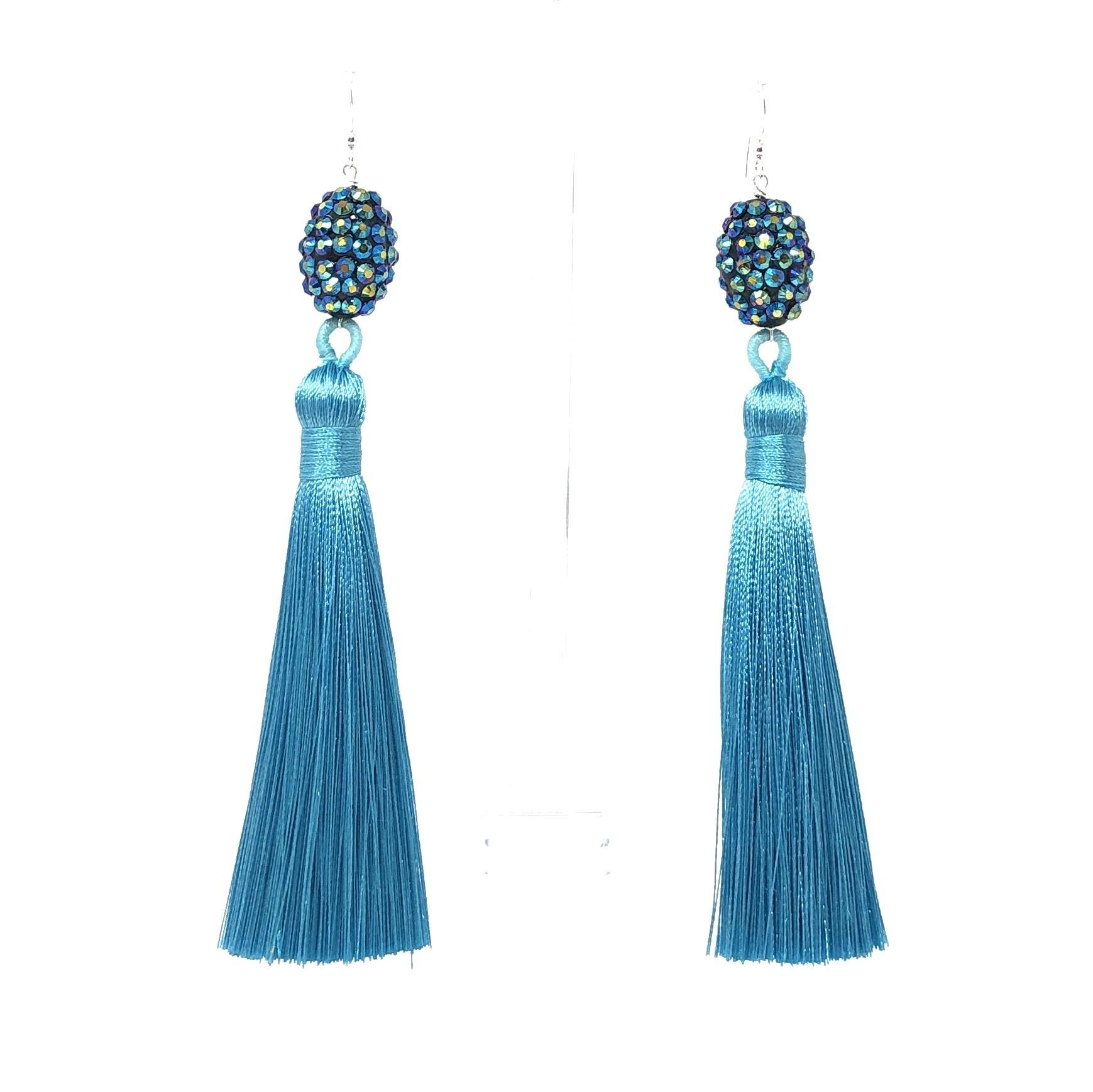 Turquoise Crystal Tassel Earrings