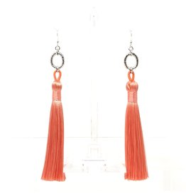 Silver & Peach Tassel Earrings