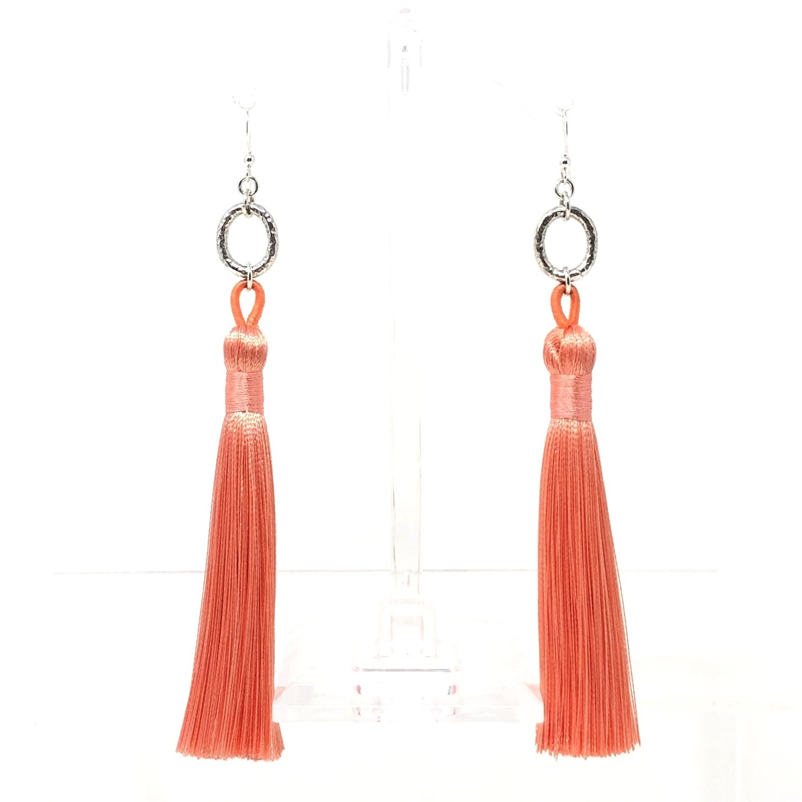 Silver & Peach Tassel Earrings