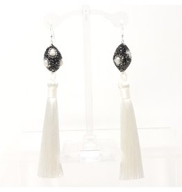 Pearl & Crystal White Tassel Earrings