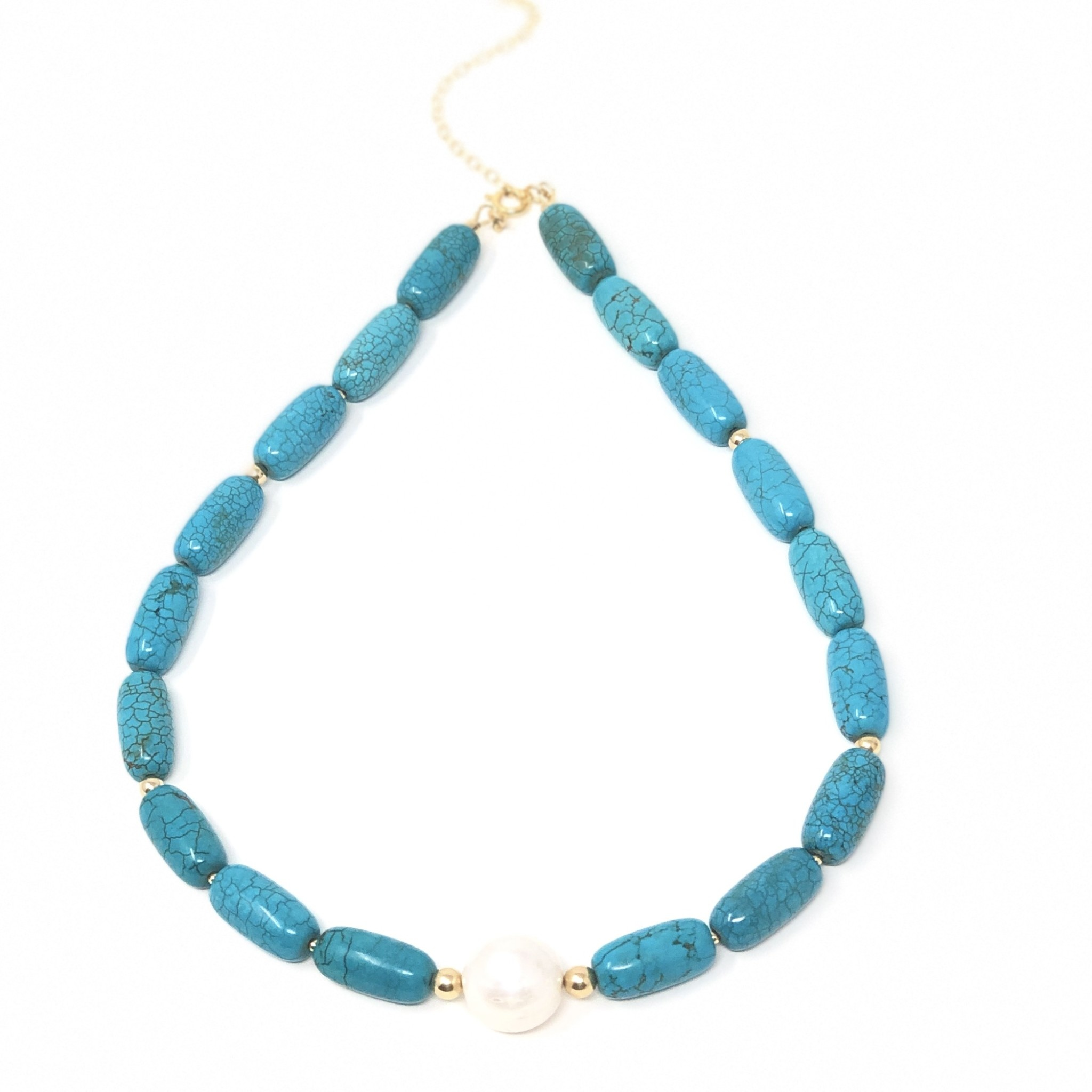 Turquoise Magnesite & Baroque Pearl Necklace