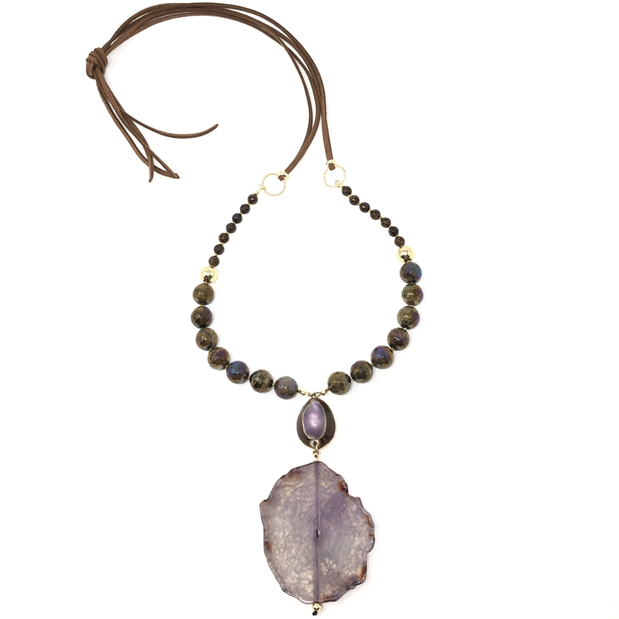 Agate, Cowrie & Tigereye Necklace