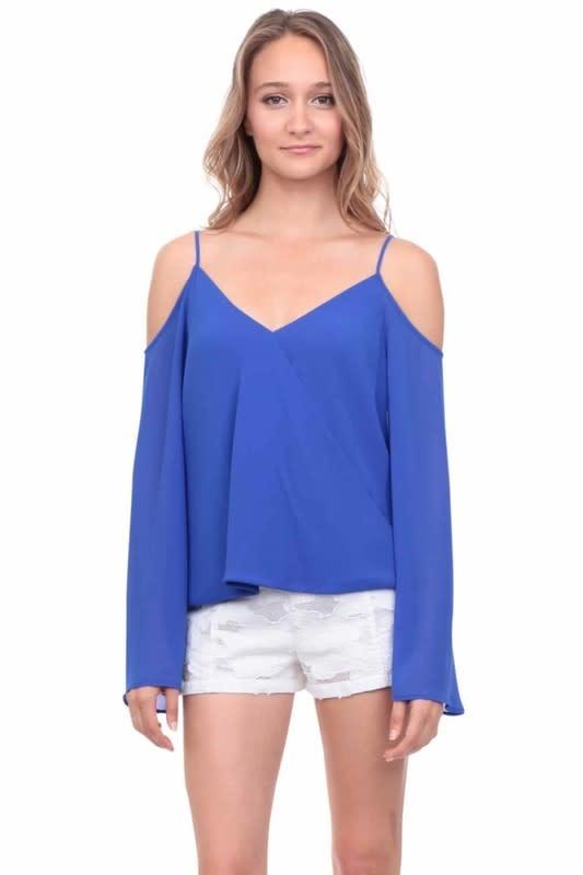 Capri Blue Cold Shoulder L/S Top