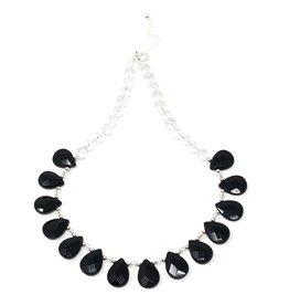 Faceted Onyx & Quartz Necklace