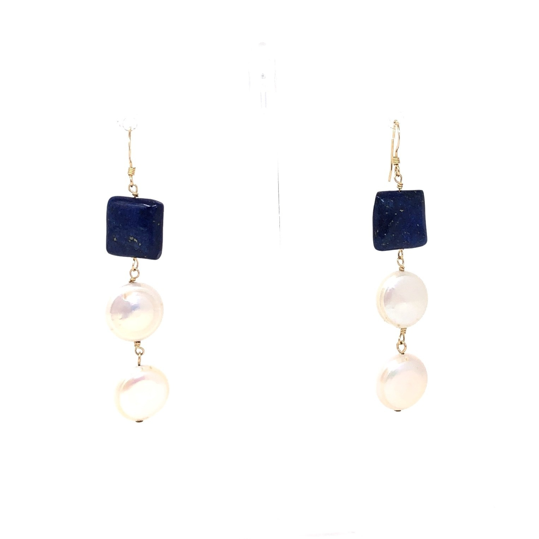 Lapis & Double Pearl Earrings