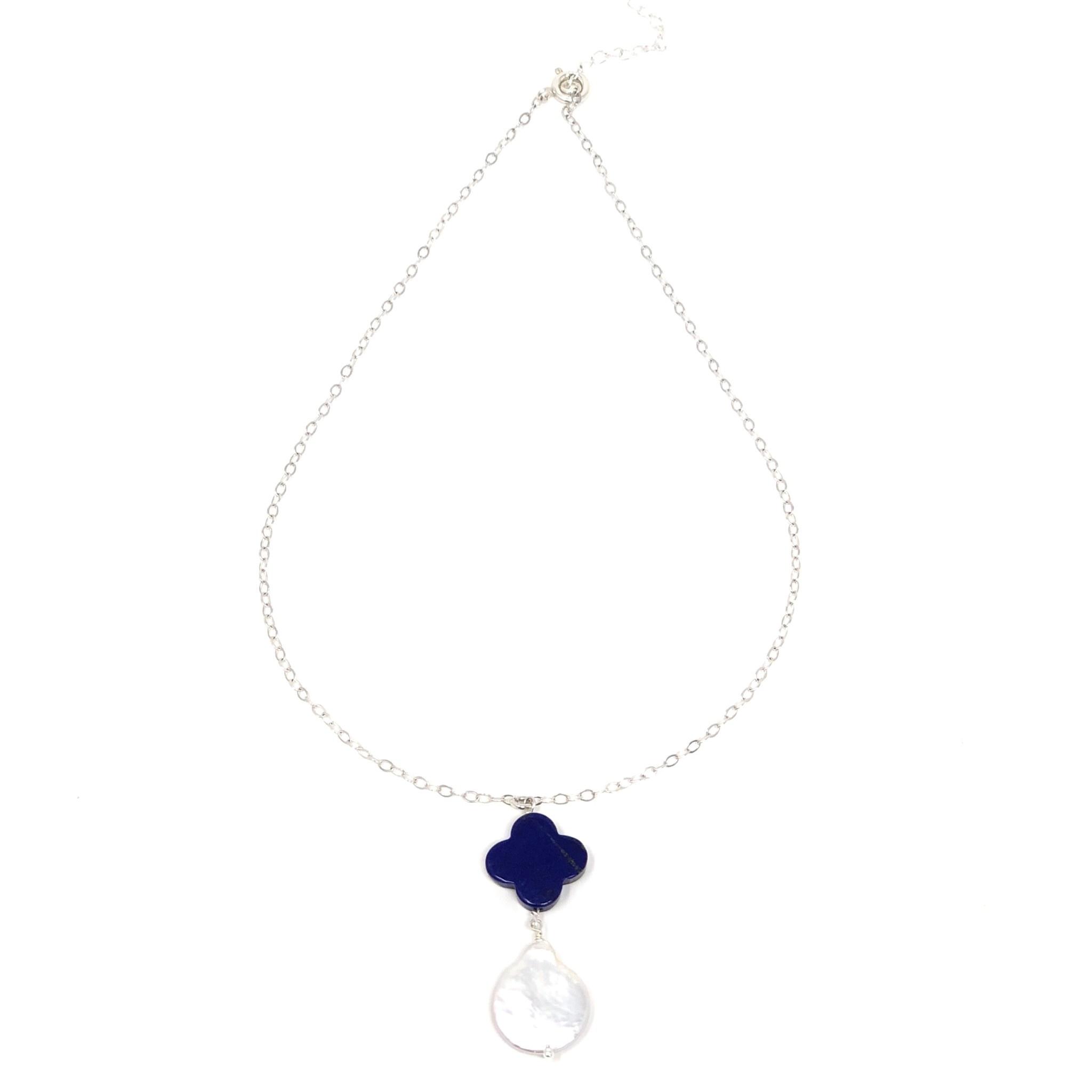 Clover Lapis Lustre Pearl Necklace
