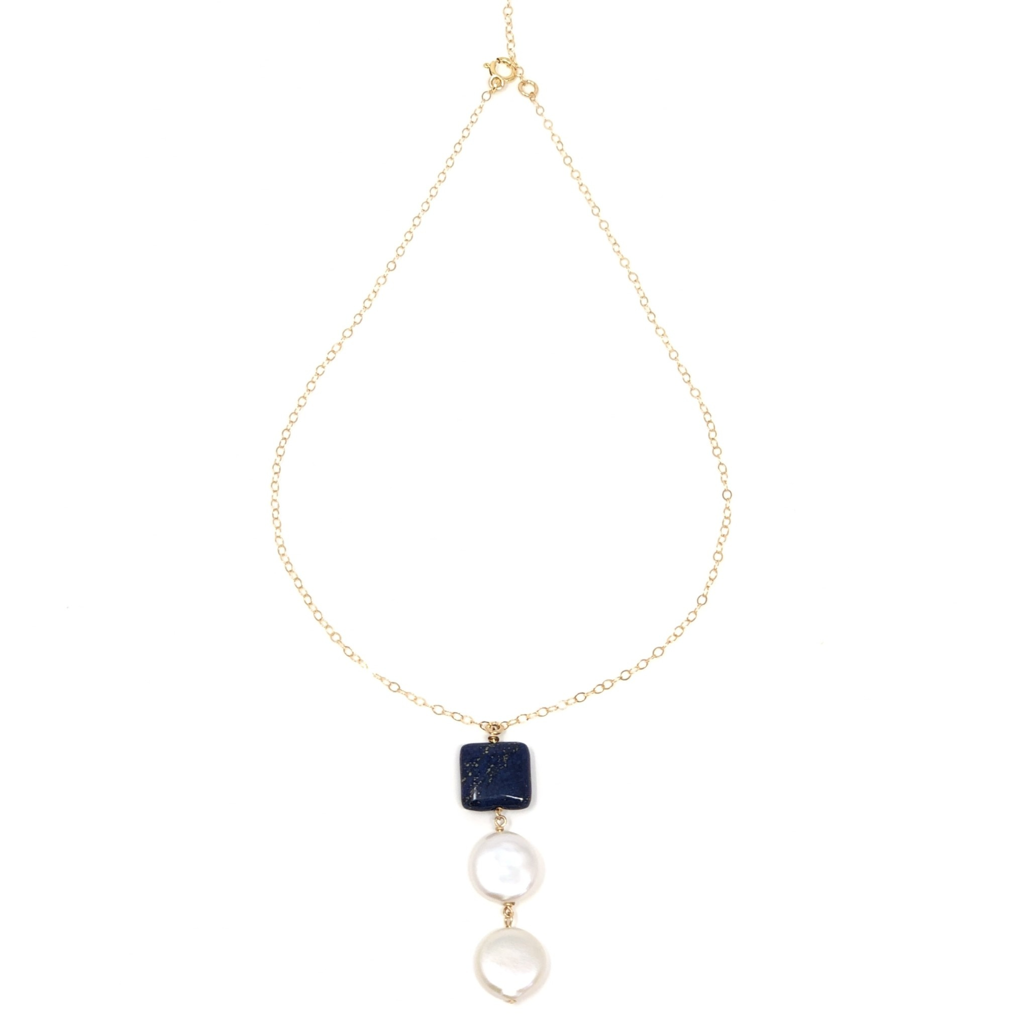 GF Lapis Double Pearl Necklace