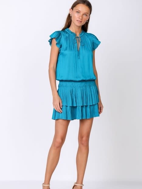 Current Air Teal Drop Waist Pleated Mini