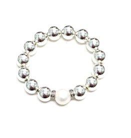 Silver Coated Hematite & FWP Bracelet