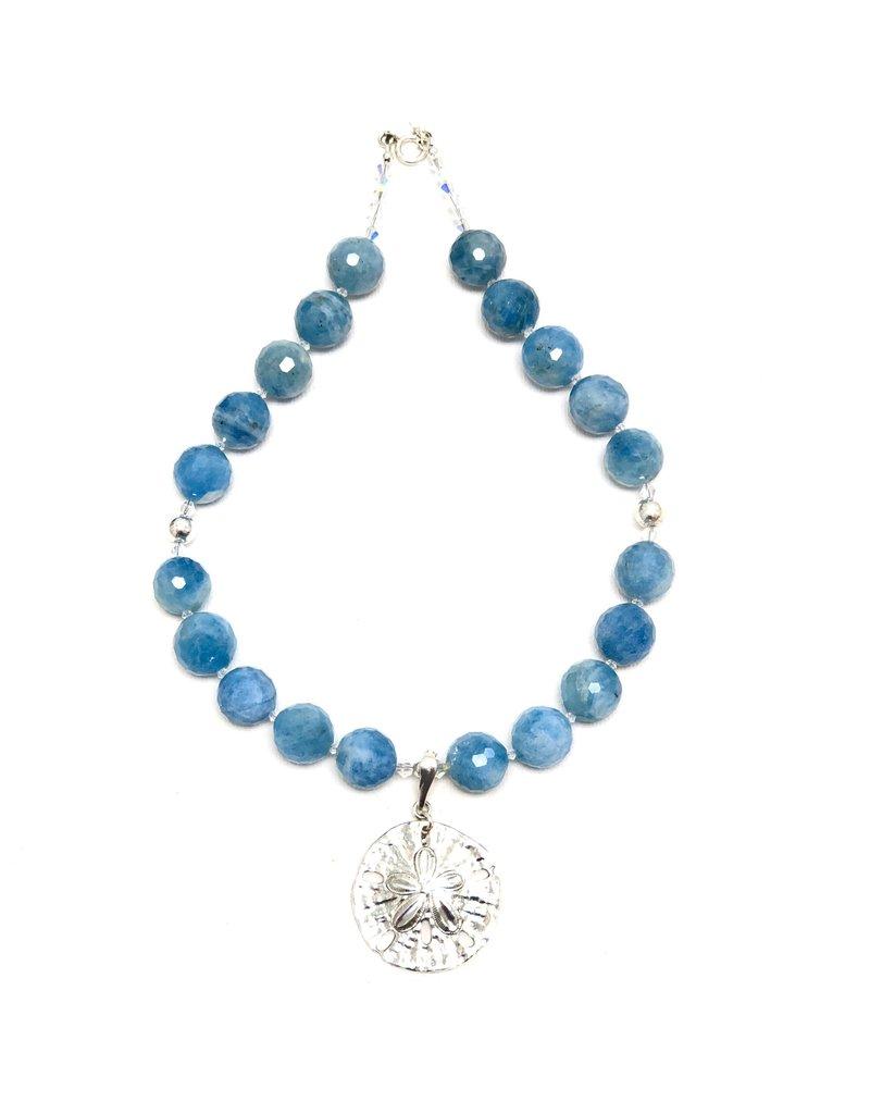 Faceted Aquamarine & Swarovski Necklace