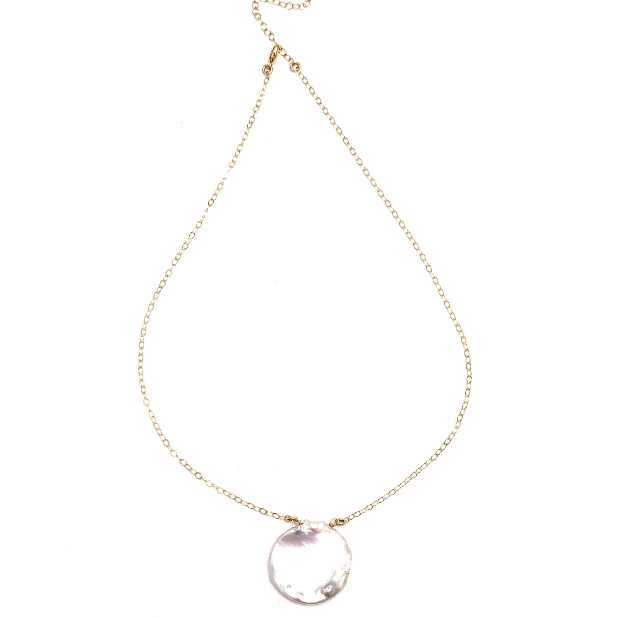 Round Keshi Petal Pearl on GF Chain