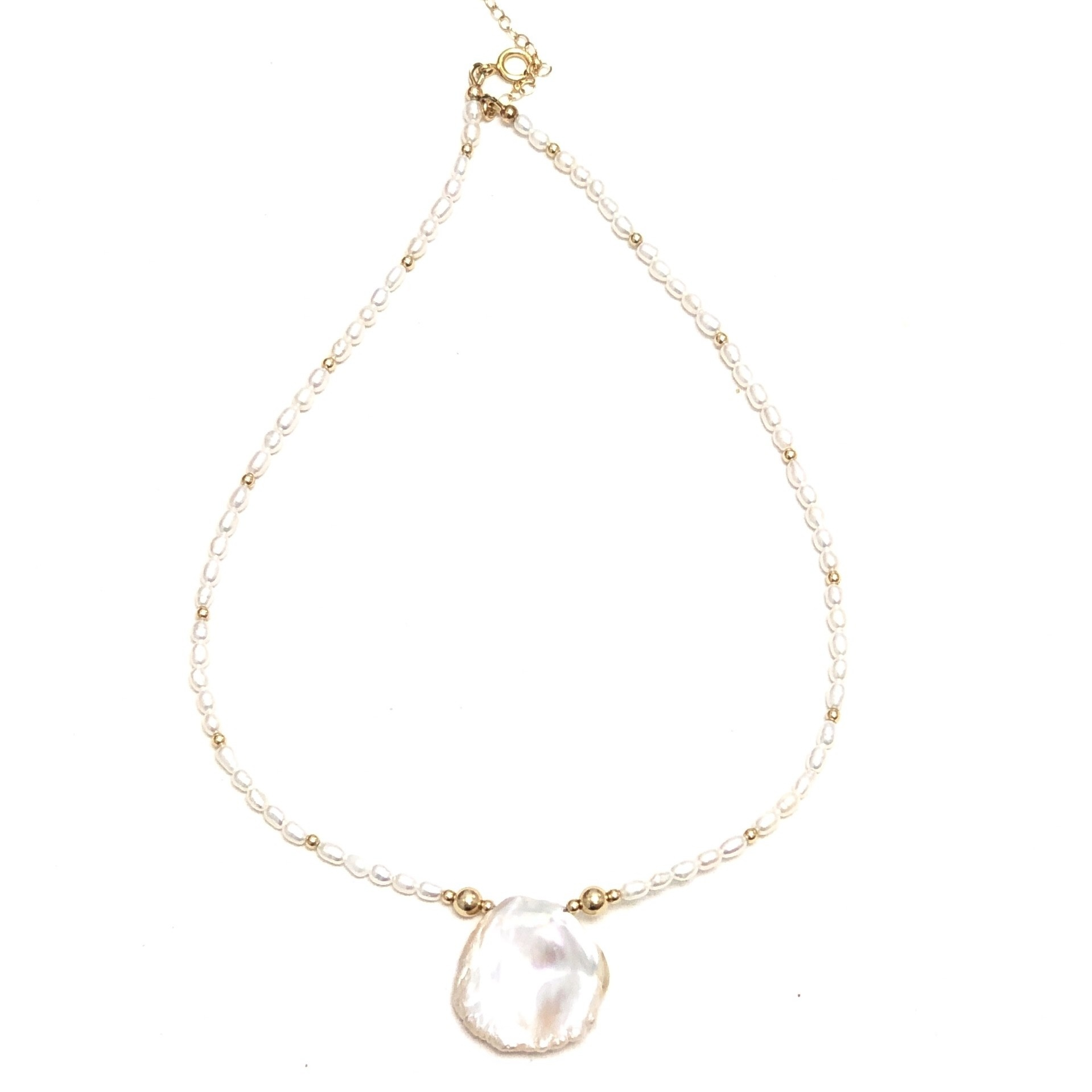 Round Keshi Petal & Rice Pearl Necklace