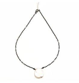 Petal Keshi Pearl on Oxidized/Silver Cut Chain