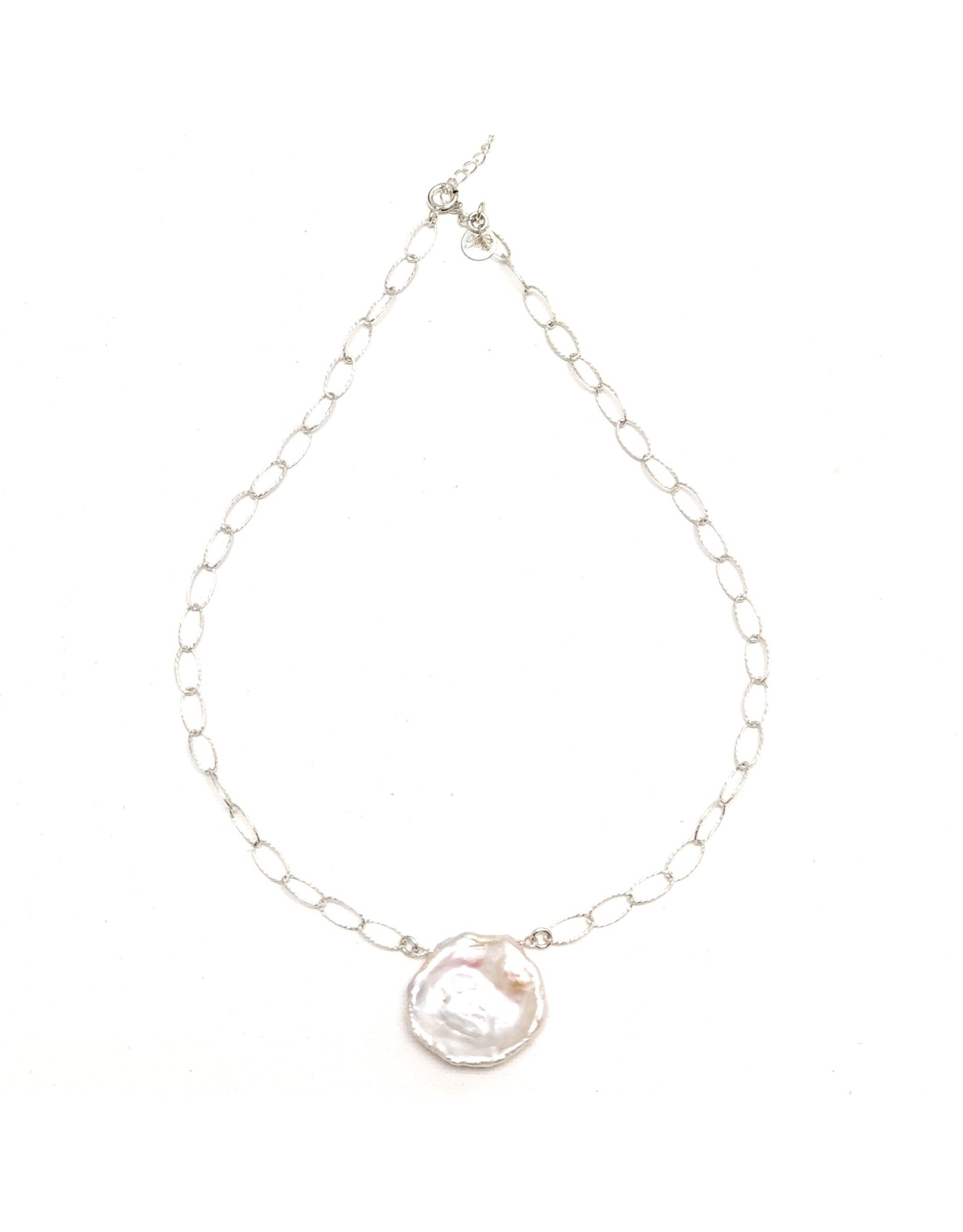 Round Keshi Pearl on Dia Cut Chain