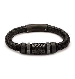 Inox Black Braided Leather & Steel Bracelet