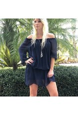 Navy Silk Mini Dress