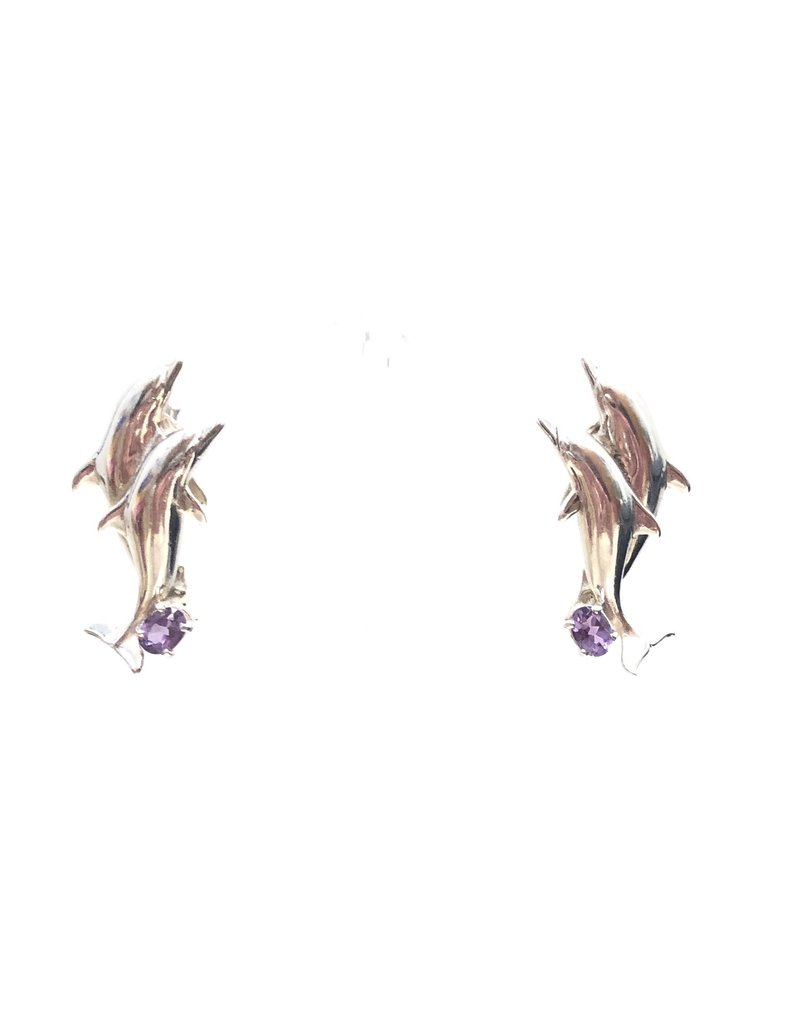 Sterling Amethyst Dolphin Earrings